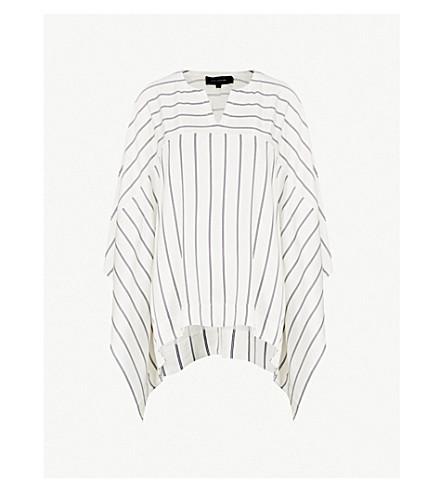 ST JOHN Striped draped satin top (Bianco/navy