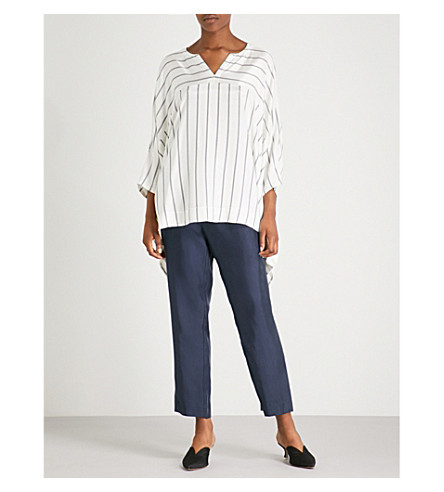 ST JOHN Striped draped satin top (Bianco/navy