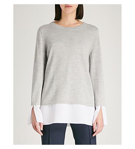 ST JOHN Contrast-panel wool jumper (Light+grey+melange