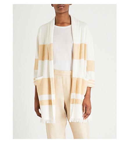 ST JOHN Striped cashmere and silk-blend cardigan (Cream/butterscotch