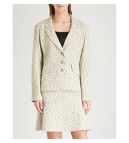 ST JOHN Flecked tweed jacket (Citron+multi