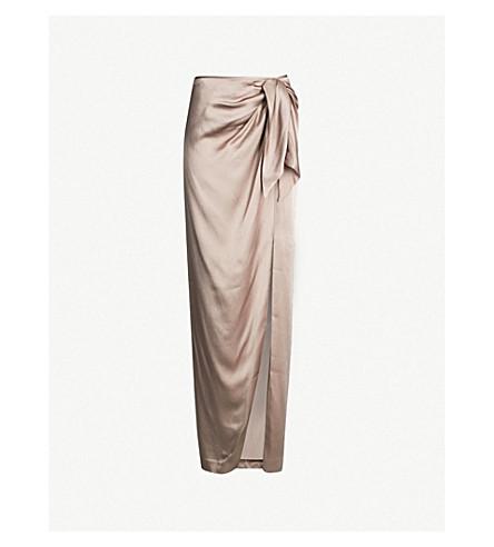 ST JOHN Ruched satin maxi skirt (Mink