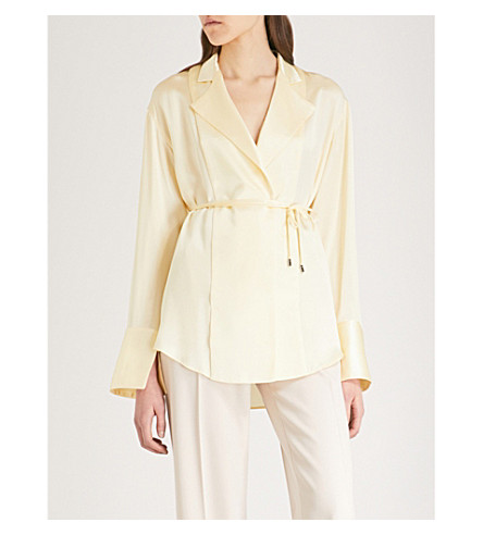 MICHAEL LO SORDO Cutout back silk blouse (Yellow