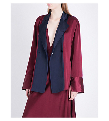 MICHAEL LO SORDO Double-breasted silk-satin shirt (Bordeaux+/+navy