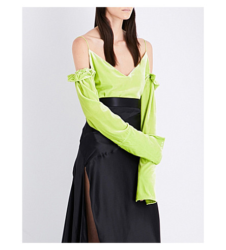 MICHAEL LO SORDO Cold-shoulder velvet top (Limone