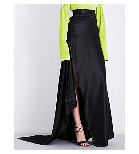 MICHAEL LO SORDO Empress silk-satin maxi skirt (Black