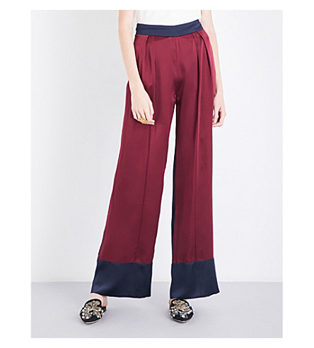MICHAEL LO SORDO Wide-leg silk-satin trousers (Bordeaux