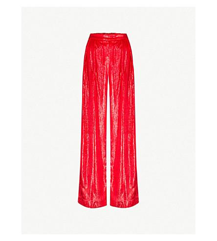 MICHAEL LO SORDO Split-cuff wide-leg metallic-velvet trousers (Red