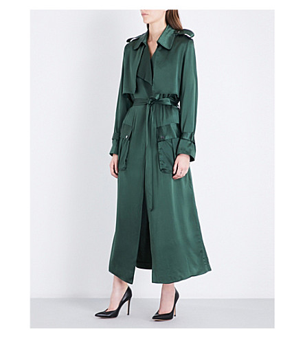 MICHAEL LO SORDO Relaxed silk-satin trench coat (Green