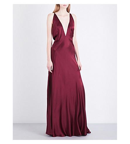 MICHAEL LO SORDO V-neck bias-cut silk maxi dress (Bordeaux