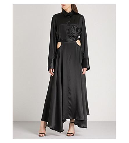 MICHAEL LO SORDO Cocoon-sleeve silk maxi dress (Black