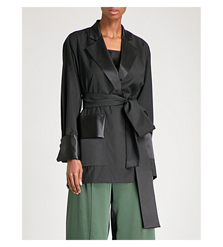 MICHAEL LO SORDO Belted wool and silk-satin wrap jacket (Black
