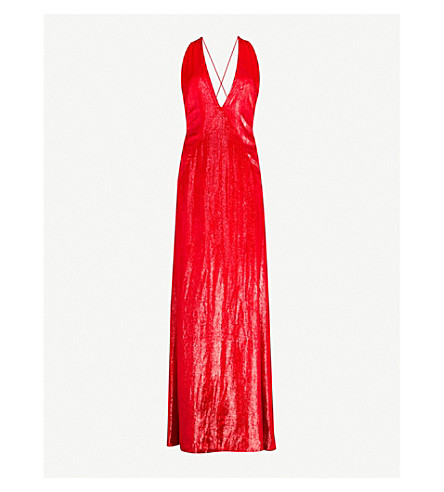 MICHAEL LO SORDO Alexandra metallic-velvet maxi dress (Red