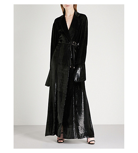 MICHAEL LO SORDO Belted metallic-velvet maxi dress (Black