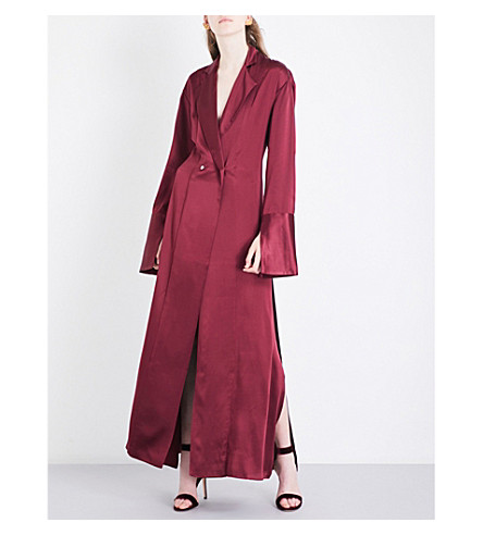MICHAEL LO SORDO Double-breasted silk-satin shirt dress (Bordeaux