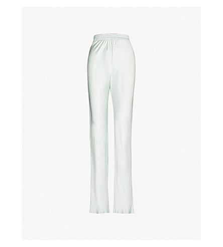 MICHAEL LO SORDO High-rise flared silk-satin trousers (Pistachio