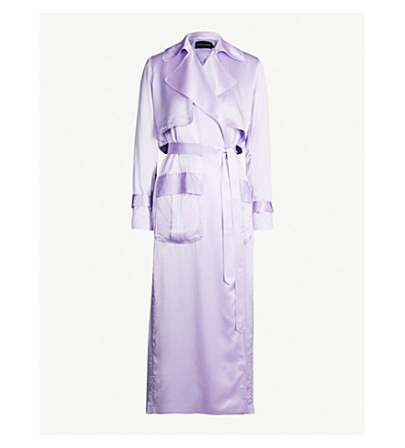 MICHAEL LO SORDO Belted silk-satin trench coat (Lavender