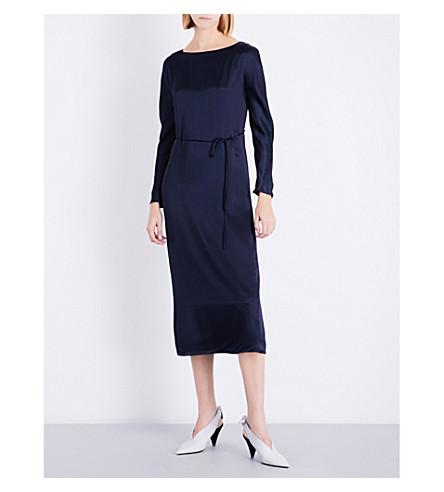 PROTAGONIST Boat neckline satin midi dress (Royal+blue