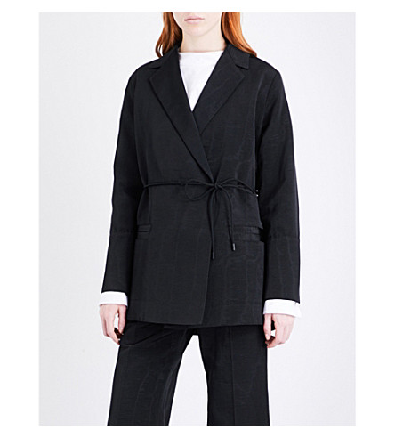 PROTAGONIST Self-tie wrap-over woven jacket (Black