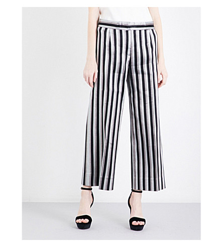 PROTAGONIST Striped wide cropped metallic-jacquard trousers (Metallic+stripe