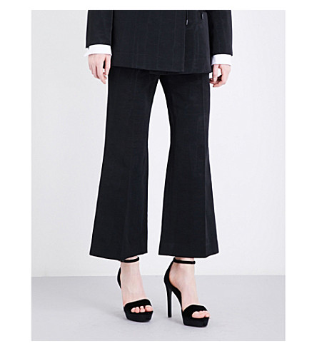 PROTAGONIST Wide cropped mid-rise woven trousers (Black