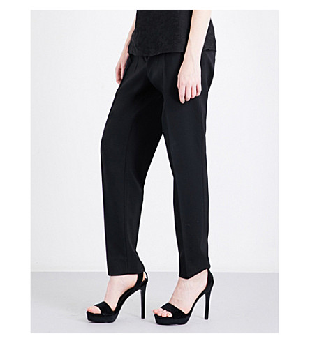 PROTAGONIST Straight mid-rise stretch-wool trousers (Black