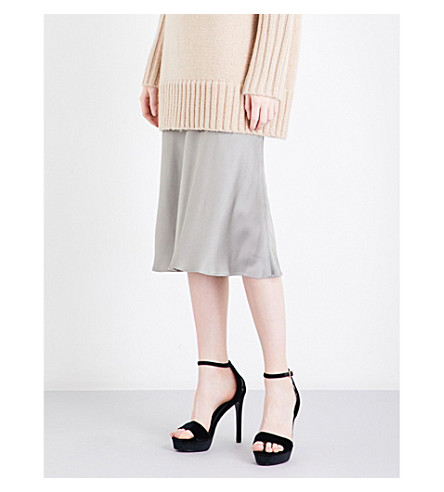 PROTAGONIST Flared mid-rise crepe skirt (Dove+grey