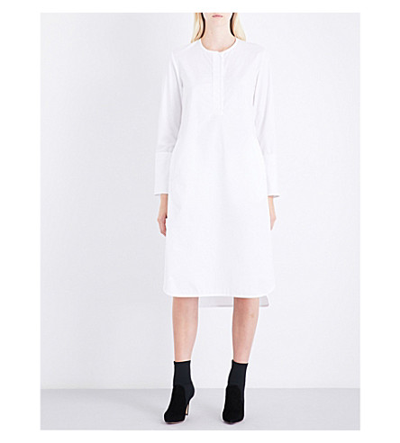PROTAGONIST Curved-hem cotton-poplin dress (Tissue+white