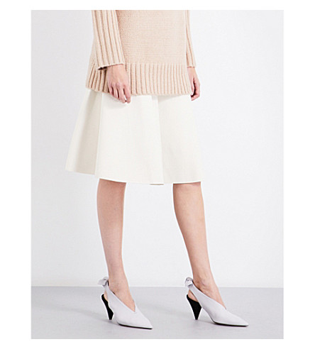 PROTAGONIST Flared stretch-knit skirt (Crema
