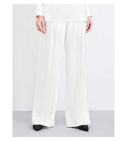 PROTAGONIST Striped wide-leg satin-jacquard trousers (Pearl