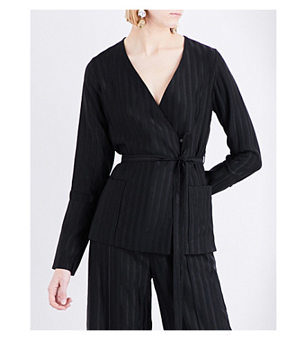 PROTAGONIST Crepe and satin pyjama shirt (Black