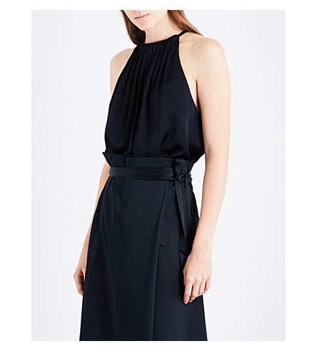PROTAGONIST Pleated satin-crepe top (Onyx