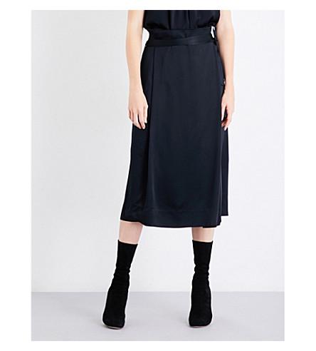 PROTAGONIST Wrap satin-crepe midi skirt (Onyx
