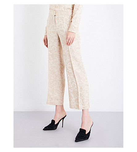 PROTAGONIST Wide-leg floral satin-jacquard trousers (Buff