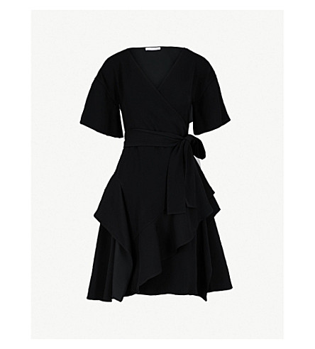 ADEAM Ruffled woven wrap dress (Black