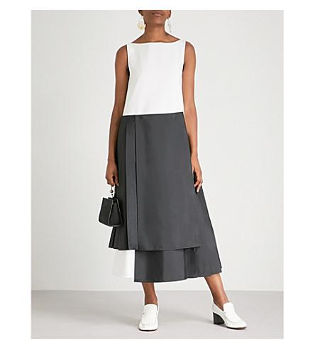 dress ADEAM cotton midi ADEAM hem Asymmetric white Black Asymmetric qIwY51w