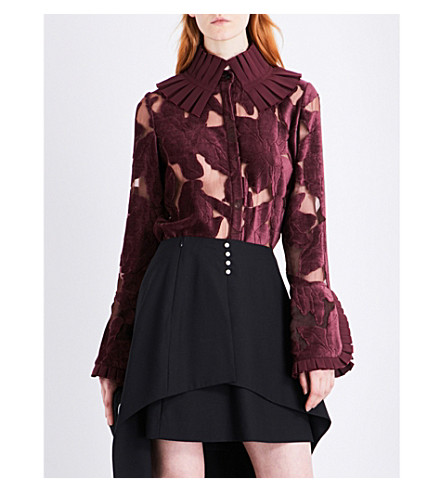 ADEAM Ruffle collar devoré top (Burgundy