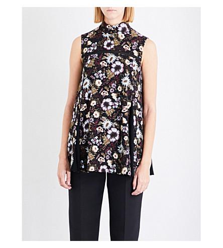 ADEAM Floral-print crepe top (Black/print
