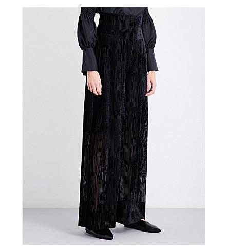 ADEAM Corset-waist velvet trousers (Black