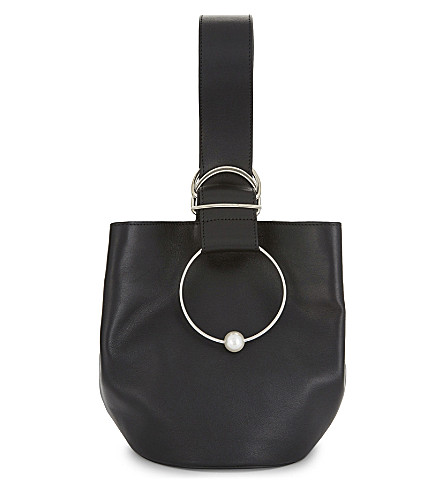 ADEAM Leather gem sphere bucket bag (Black