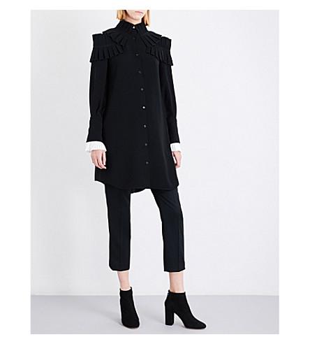 ADEAM Ruffle-detailed crepe dress (Black