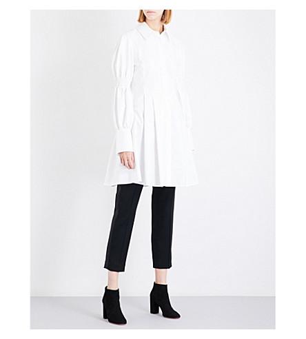 ADEAM Smocked cotton-blend dress (White