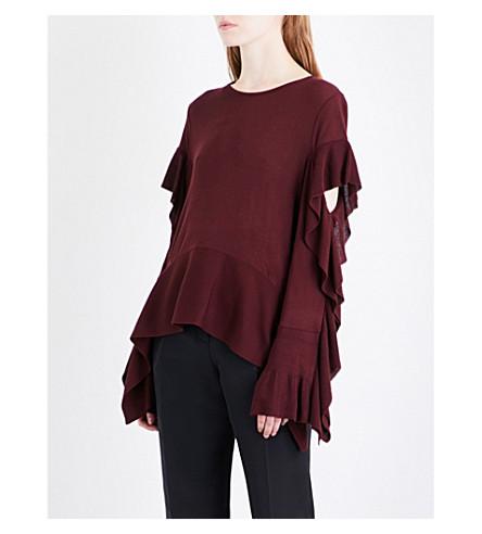ADEAM Ruffled knitted jumper (Burgundy