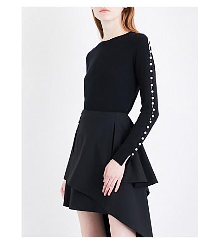 ADEAM Faux pearl-embellished silk jumper (Black
