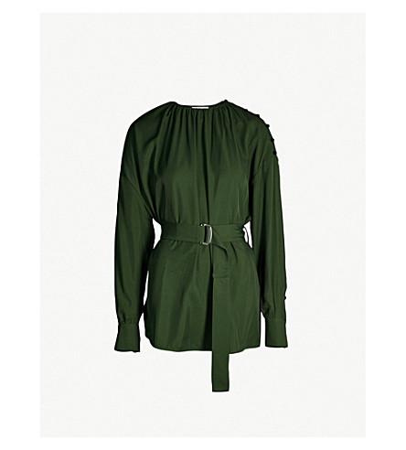 ADEAM Belted crepe top (Jade green