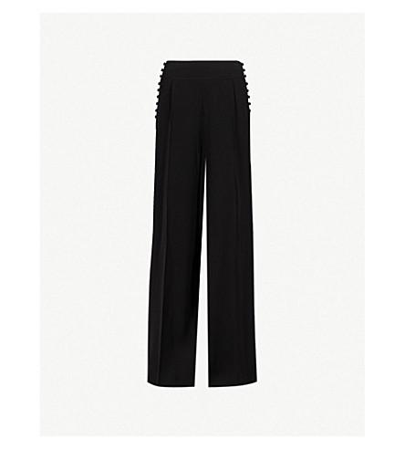 ADEAM Button-detail wide-leg crepe trousers (Black