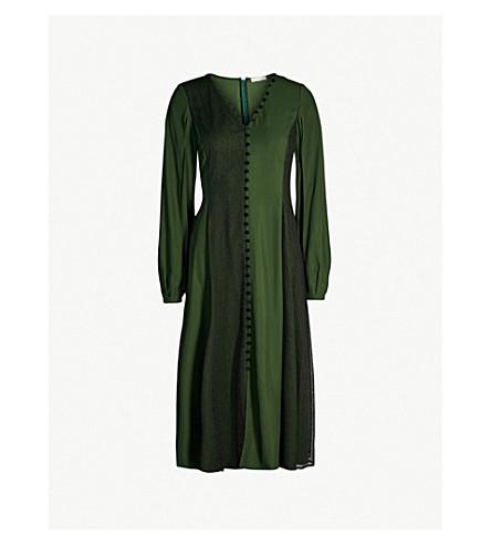 ADEAM Button-detailed crepe dress (Jade green