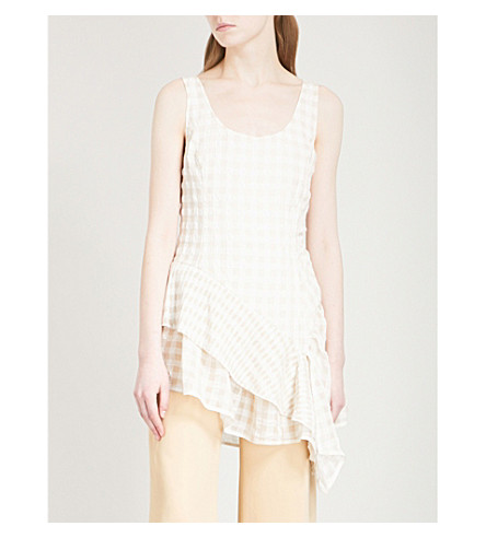 ADEAM Gingham devoré ruffled crepe top (Beige+gingham