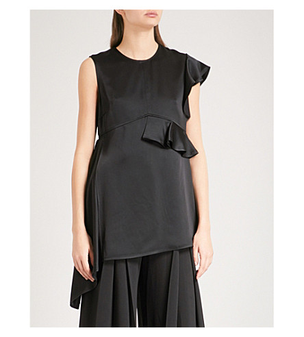 ADEAM Asymmetric satin top (Black