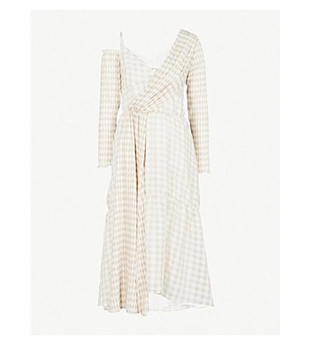 ADEAM Checked asymmetric woven dress (Beige+gingham